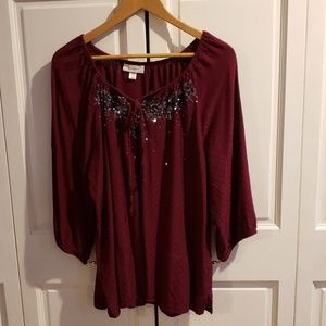 Maroon dress barn top